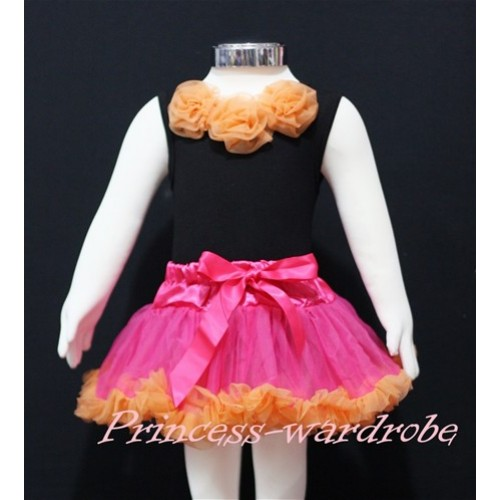 Black Newborn Pettitop & Orange Rosettes with Hot Pink Orange Newborn Pettiskirt NG169
