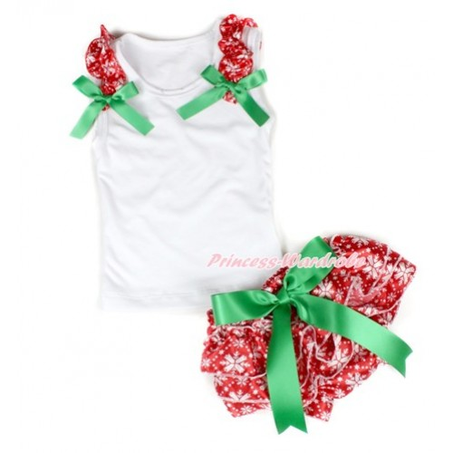 Xmas White Baby Pettitop & Red Snowflakes Ruffles & Kelly Green Bows with Kelly Green Bow Red Snowflakes Satin Bloomers LD223