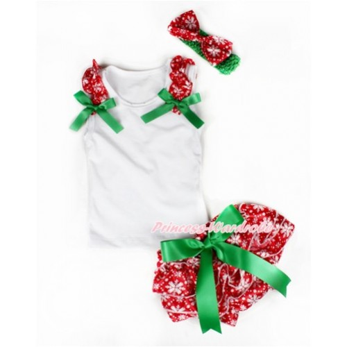 Xmas White Baby Pettitop & Red Snowflakes Ruffles & Kelly Green Bows with Kelly Green Bow Red Snowflakes Satin Bloomers With Green Headband Snowflakes Satin Bow LD227
