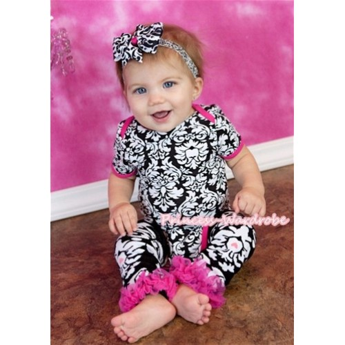 Hot Pink Damask Print Baby Jumpsuit with Hot Pink Ruffles Damask Leg Warmer Set TH221