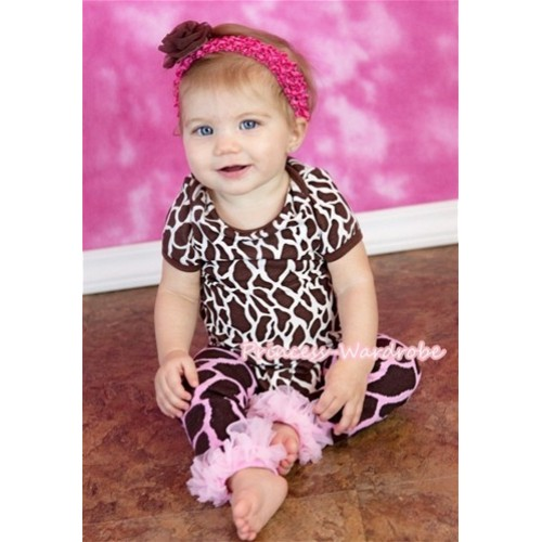 Giraffe Print Baby Jumpsuit with Light Pink Ruffles Leg Warmer Set TH222