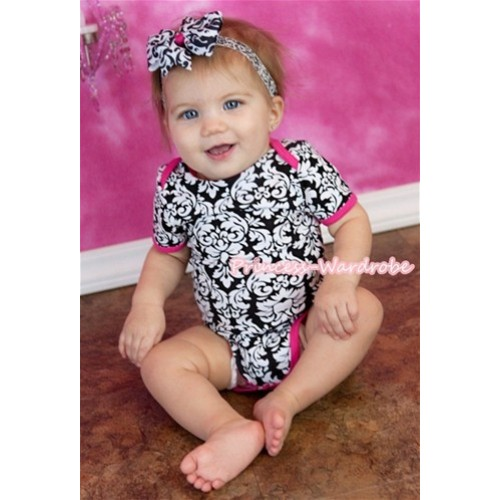 Plain Style Hot Pink Damask Print Baby Jumpsuit TH108