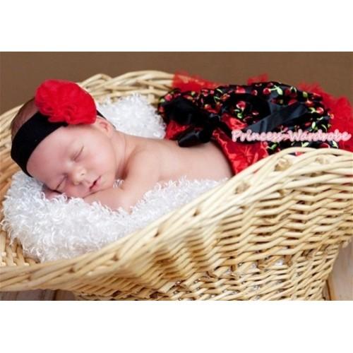 Hot Red Black Cherry New Born Pettiskirt N087