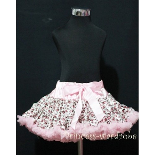 Light Pink Leopard Print Teen Full Pettiskirt XXL AP09