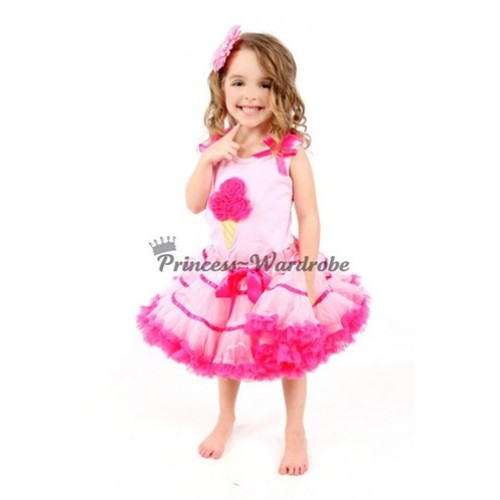 Hot Light Pink Trim Pettiskirt With Hot Pink Rosettes Ice Cream Print Light Pink Tank Top with Hot Pink Bows and Ruffles MS317