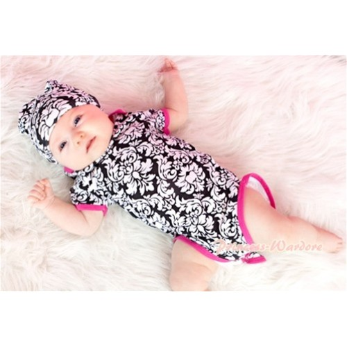 Hot Pink Damask Print Baby Jumpsuit with Cap Set TH161