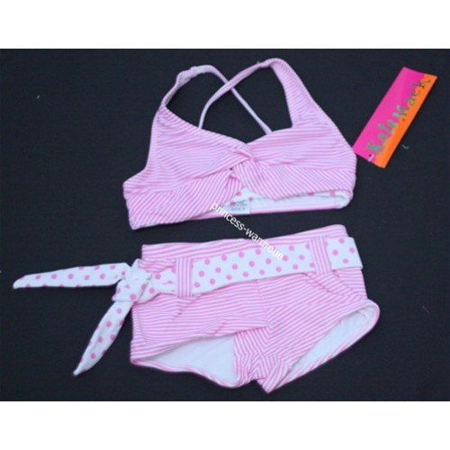 Hot Pink White Stripes Bikini with Polka Dots Waist Belt SW20