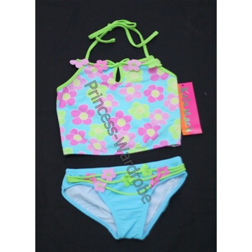 Light Blue with Flower Print Bikini SW27