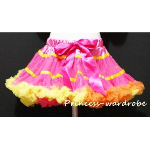 Rainbow Orange Hot Pink Yellow Mix Pettiskirt P50