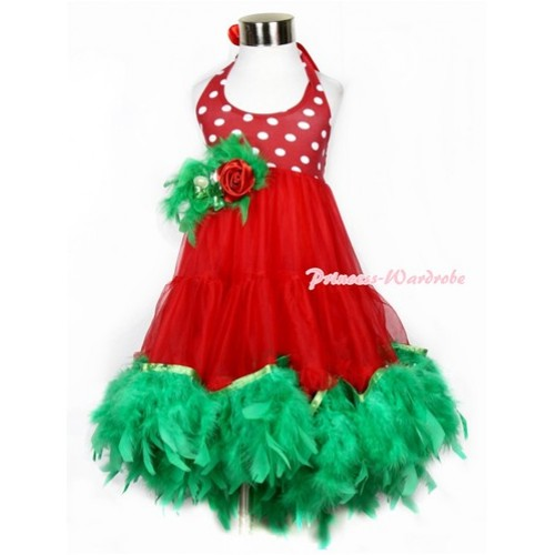 Xmas Red White Polka Dots ONE-PIECE Petti Dress with Kelly Green Posh Feather & Green Feather Crystal Rose Bow With Accessory 2PC Set LP26