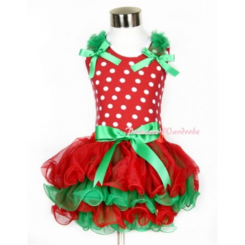 Xmas Minnie Dots Baby Pettitop & Kelly Green Ruffles & Kelly Green Bow with Kelly Green Bow Red Green Baby Petal Pettiskirt BG059