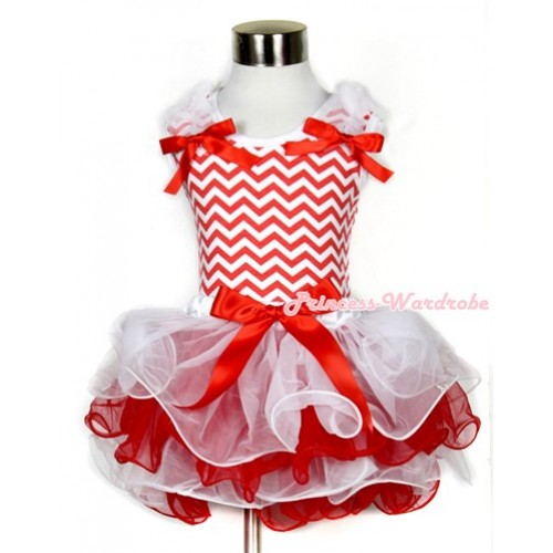 Xmas Red White Wave Baby Pettitop & White Ruffles & Red Bow with Red Bow White Red Baby Petal Pettiskirt BG070