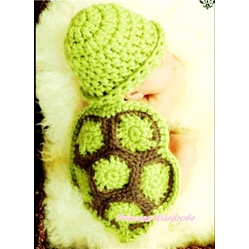 Dark Green Turtle Photo Prop Crochet Newborn Baby Custome C182