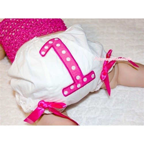 1st Hot Pink Polka Dots Birthday Number Panties Bloomers with Hot Pink Bow BC62