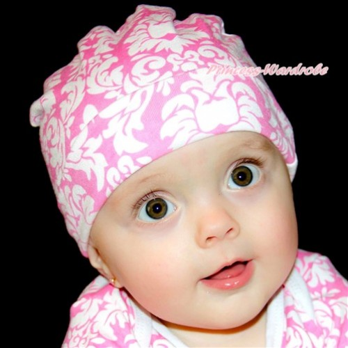 Light Pink White Damask Cotton Cap TH388