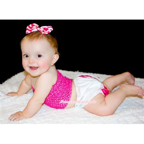 1st Hot Pink White Dots Birthday Age Print White Bloomer With Hot Pink Bows,Hot Pink Crochet Tube Top,Hot Pink White Wave Satin Bow 3PC Set CT643