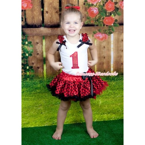 Halloween White Baby Pettitop with 1st Sparkle Red Birthday Number Print with Red Black Dots Ruffles & Black Bow with Red Black Dots Newborn Pettiskirt NG1247
