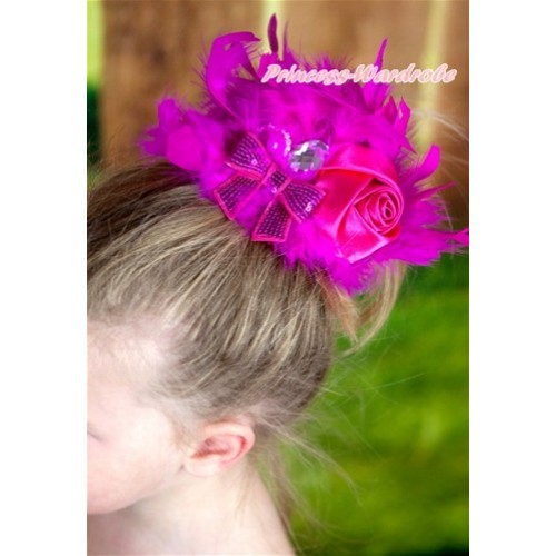Hot Pink Posh Crystal Satin Rose Sparkle Bow Feather Hair Clip H731