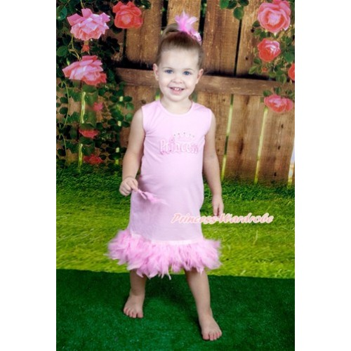 Light Pink One-Piece Pettidress With Princess Print With Light Pink Posh Feather Ruffles With Accessory 2PC Set CD024