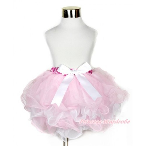 Hot Pink White Polka Dots Waist Light Pink White Flower Petal Full Pettiskirt With White Bow B211