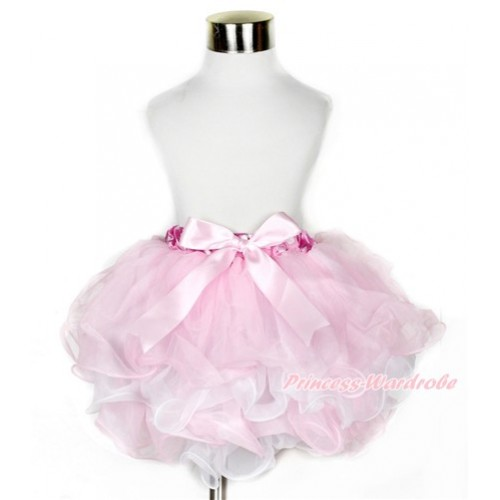 Hot Pink White Polka Dots Waist Light Pink White Flower Petal Full Pettiskirt With Light Pink Bow B212