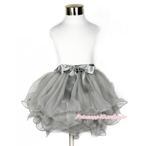 Grey Flower Petal Full Pettiskirt With Grey Bow B213