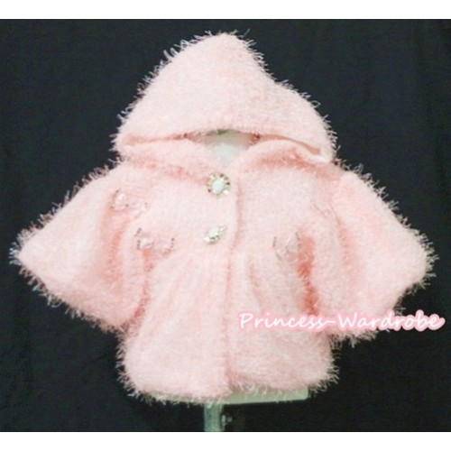 Light Pink Hairy Soft Fur with Mini Bow Shawl Coat SH26