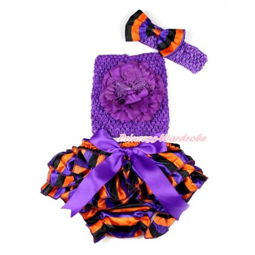 Halloween Dark Purple Bow Purple Orange Black Striped Satin Bloomer ,Dark Purple Peony Dark Purple Crochet Tube Top,Dark Purple Headband Purple Orange Black Striped Satin Bow 3PC Set CT647