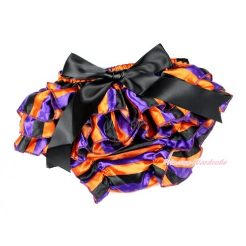 Halloween Dark Purple Orange Black Striped Satin Layer Panties Bloomers With Black Big Bow BC173