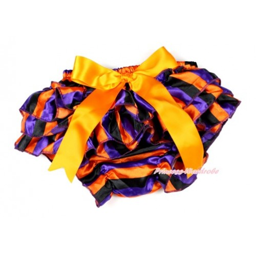 Halloween Dark Purple Orange Black Striped Satin Layer Panties Bloomers With Orange Big Bow BC174