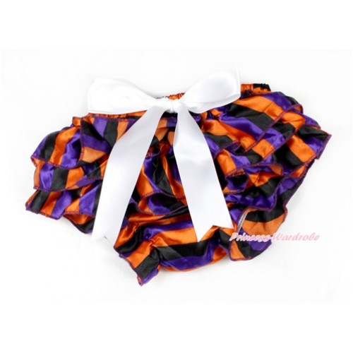 Halloween Dark Purple Orange Black Striped Satin Layer Panties Bloomers With White Big Bow BC175