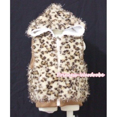 Brown Leopard Hairy Soft Fur Jacket SH27