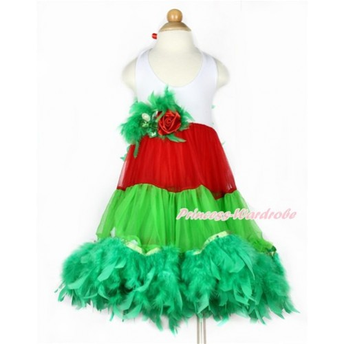 Xmas White Red Green ONE-PIECE Petti Dress with Kelly Green Posh Feather & Kelly Green Feather Crystal Rose Bow With Accessory 2PC Set LP29