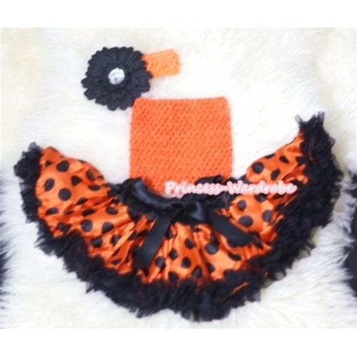 Halloween Orange Crochet Tube Top, Orange Black Giant Polka Dots Pettiskirt with Orange Headband and Black Flower CT316