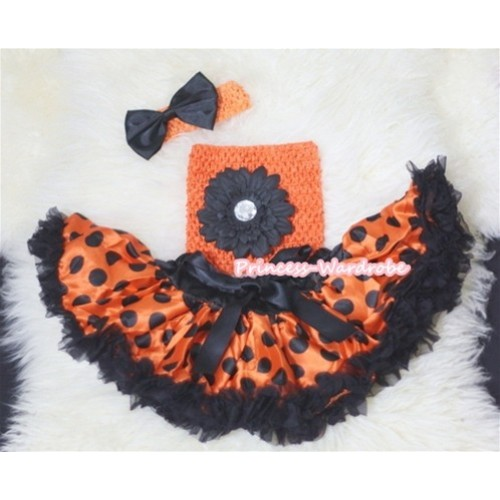 Halloween Orange Black Polka Dots Baby Pettiskirt,Black Flower and Orange Crochet Tube Top, Orange Headband with Black Satin Bow 3PC Set CT246