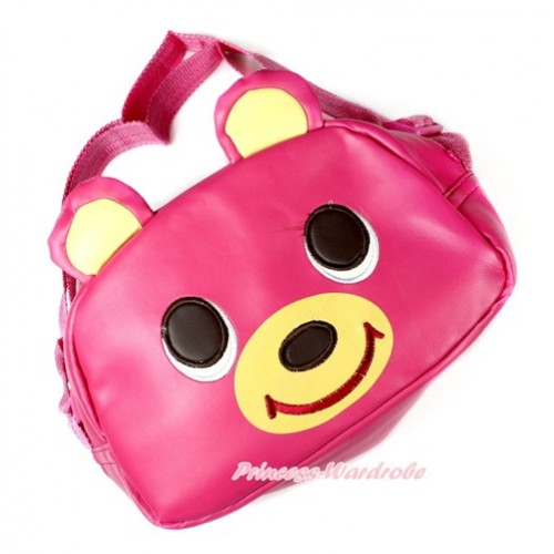 Hot Pink Bear Cute Kids School Zipper Cross Shoulder Bag CB120