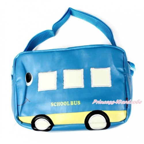 Light Blue Bus Cute Kids School Zipper Cross Shoulder Bag CB124