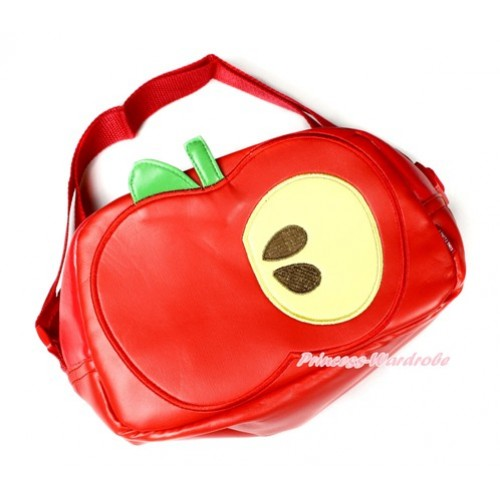 Green Leave Red Half Bite Apple Cute Kids School Zipper Cross Shoulder Bag CB125