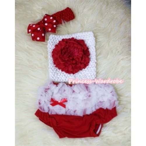 Red Peony and White Crochet Tube Top, Red Headband with Red White Polka Dots Bow, White Ruffles Hot Red Panties Bloomers 3PC Set CT289