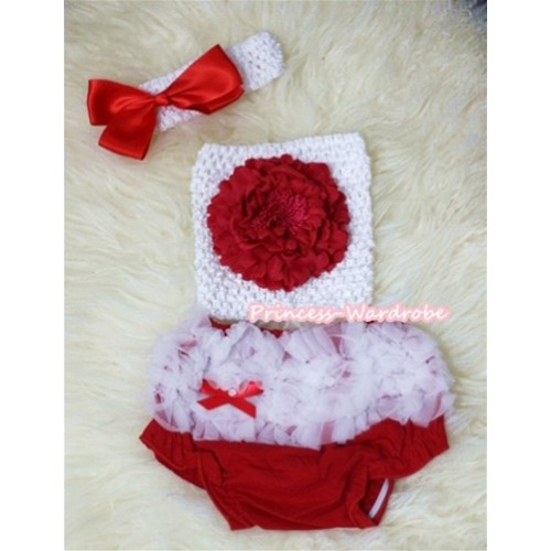 Red Peony and White Crochet Tube Top, White Headband with Red Bow, White Ruffles Hot Red Panties Bloomers 3PC Set CT290