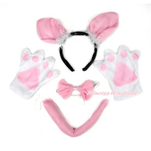Light Pink Bunny Rabbit 4 Piece Set in Ear Headband, Tie, Tail , Paw PC055