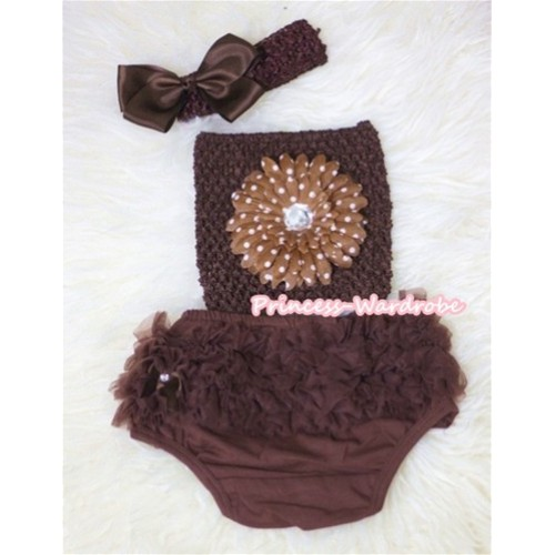Brown White Polka Dots Flower and Brown Crochet Tube Top, Brown Headband with Bow, Brown Pettiskirt Ruffles Panties Bloomers 3PC Set CT291