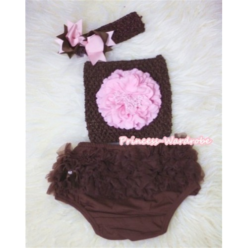 Light Pink Peony and Brown Crochet Tube Top, Brown Headband with Brown Light Pink Bow, Brown Pettiskirt Ruffles Panties Bloomers 3PC Set CT292