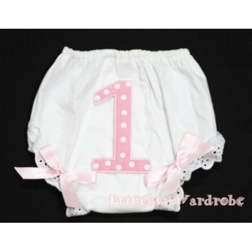 1st Light Pink Polka Dots Birthday Number Panties Bloomers with Light Pink Bow BC60