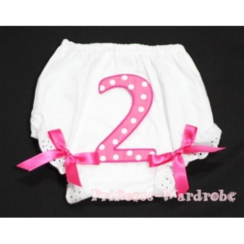 2nd Hot Pink Polka Dots Birthday Number Panties Bloomers Hot Pink Bow BC63