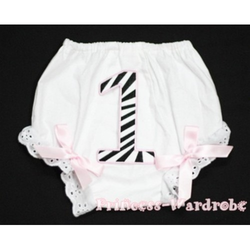 1st Light Pink Zebra Birthday Number Panties Bloomers with Light Pink Bow BC66