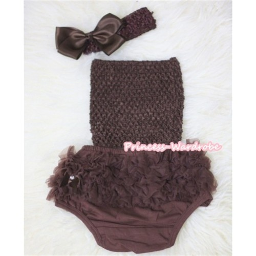 Brown Crochet Tube Top, Brown Headband with Bow, Brown Pettiskirt Ruffles Panties Bloomers 3PC Set CT293