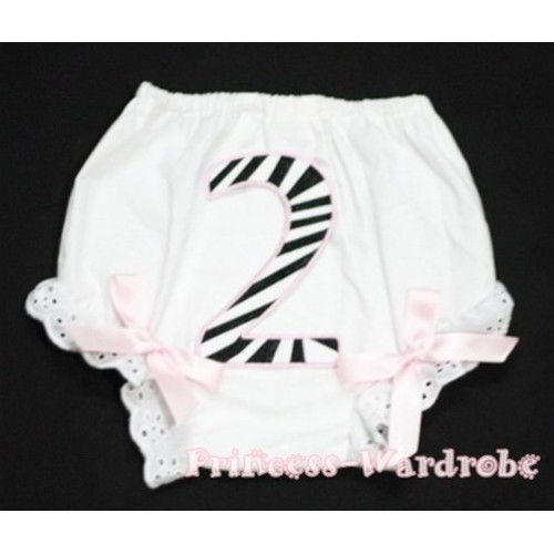 2nd Light Pink Zebra Birthday Number Panties Bloomers with Light Pink Bow BC67
