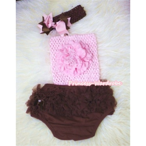 Light Pink Peony and Crochet Tube Top, Brown Headband with Brown Light Pink Bow, Brown Pettiskirt Ruffles Panties Bloomers 3PC Set CT294