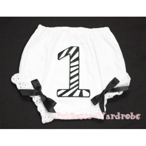 1st Black Zebra Birthday Number Panties Bloomers with Black Bow BC70